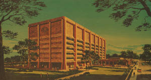 LBJ State Office Building campus on the Texas State Capitol, original rendering
